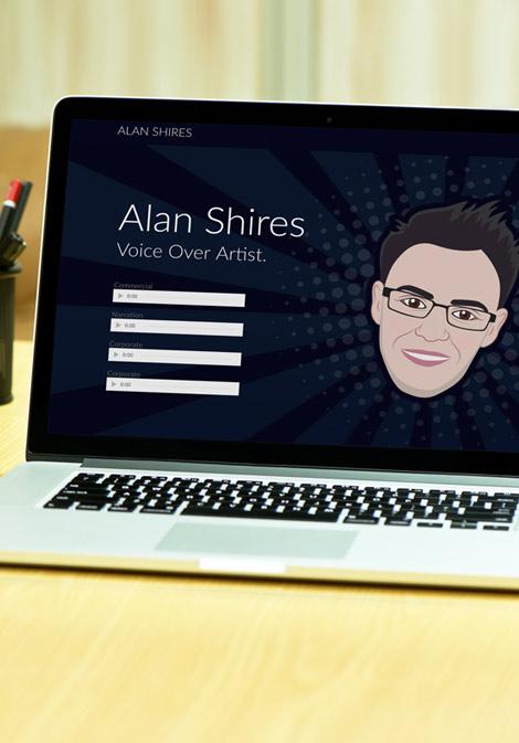 alan shires voice over logo brand website design