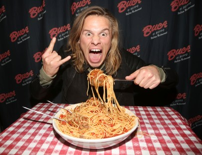 """NEW YORK, NY - MARCH 14: Tony Cavalero promotes his New Nickelodeon TV Series (based on the film) """"School Of Rock"""" at Buca di Beppo Times Square on March 14, 2016 in New York City. (Photo by Bruce Glikas/FilmMagic) *** Local Caption *** Tony Cavalero"""