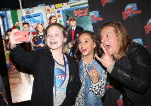 """NEW YORK, NY - MARCH 14: Tony Cavalero and Breanna Yde pose with fans as they promote thier New Nickelodeon TV Series (based on the film)""""School of Rock"""" at Planet Hollywood Times Square on March 14, 2016 in New York City. (Photo by Bruce Glikas/Bruce Glikas/FilmMagic) *** Local Caption *** Breanna Yde; Tony Cavalero"""