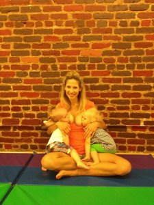 Out and about--no Problem. One of our NJ moms taking advantage of the fact that she always had food for her twins. Even at the local play gym.