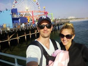 Santa Monica Pier with Hannah at 6 weeks old