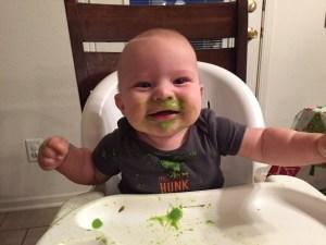 Baby O eating Homemade Baby food; Pea Puree