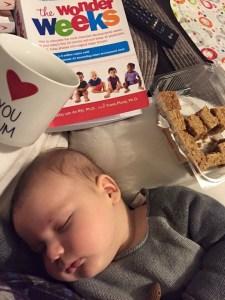 sleep regression Baby sleeping whilst mama eats flapjack