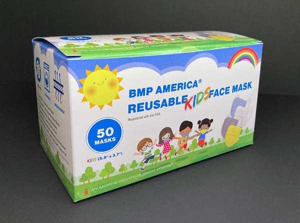 BMP America® Reusable Kids Face Mask - Box of 50 Masks