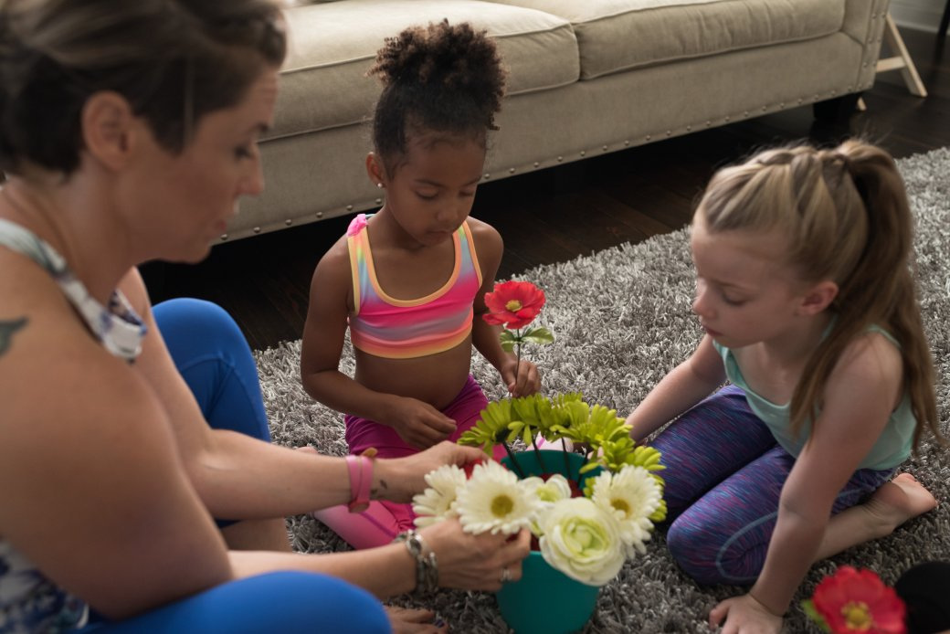 Fake flowers scented with essential oils make great props for breathing exercises.