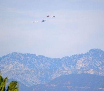Planes coming in over San Gabriel Mountains