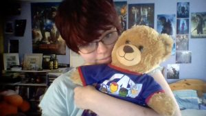 Me and my Captain America teddy bear, both in PJs