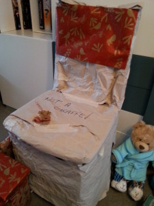 """Photo of a suspiciously wrapped object, with """"not a giraffe"""" written on it"""