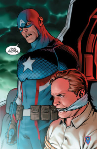 "Image of Captain America saying ""hail Hydra""."