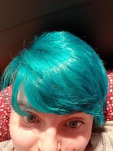 Pic of me and my bright teal hair