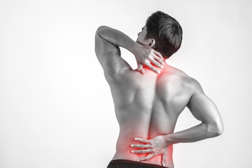 Close-up-of-man-rubbing-his-painful-back-isolated-on-white-background
