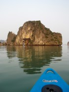 Out in the sea kayak in Halong Bay