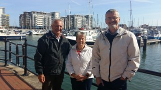 Mike with Roy and Sue Martin at Sovereign Harbour, Eastbourne