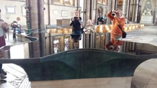 A very modern baptismal font at Salisbury Cathedral