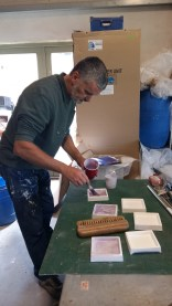 Mike preparing the moulds