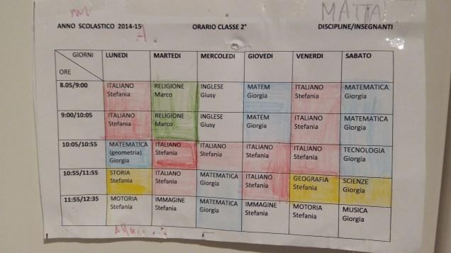 Mattia's timetable