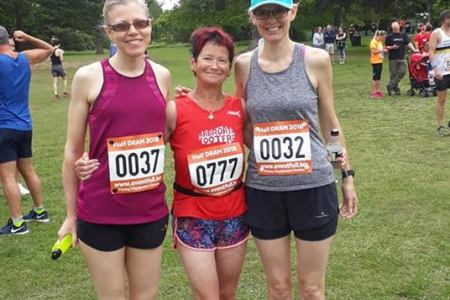 Me, June and Kate before the start of the Dundee Half DRAM. We didn't look quite as cool and collected afterwards.