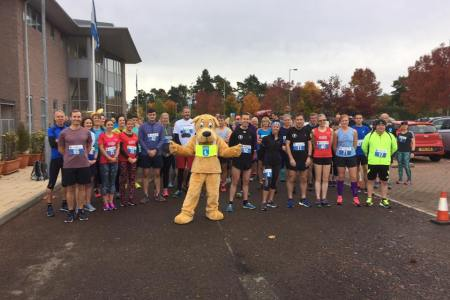 Photo shows the 5k participants ready to go