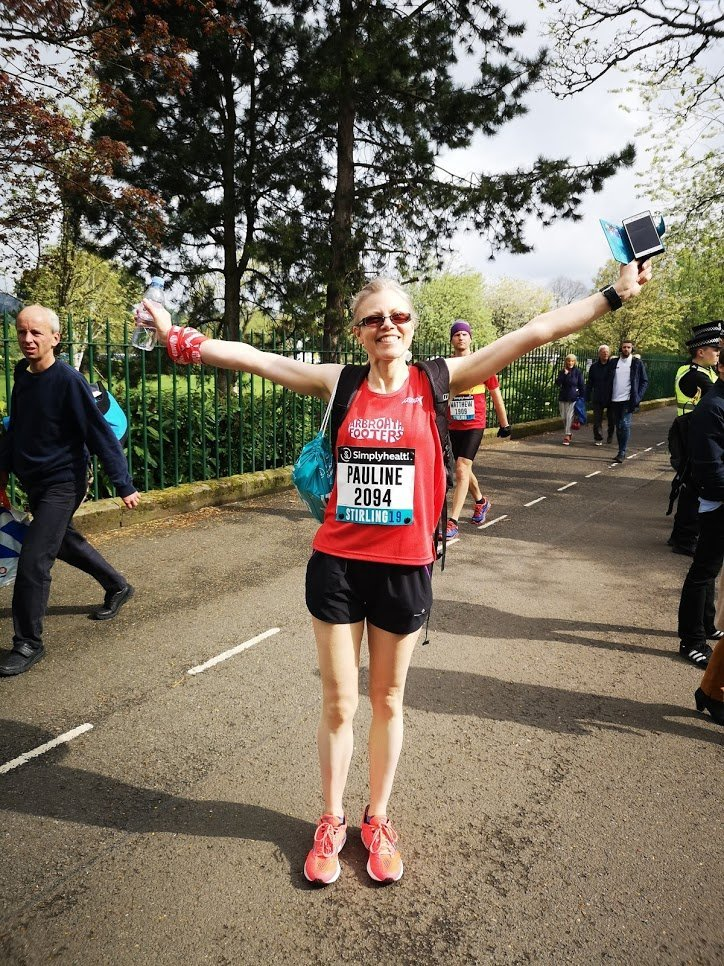 Pauline looking triumphant shortly after finishing the race
