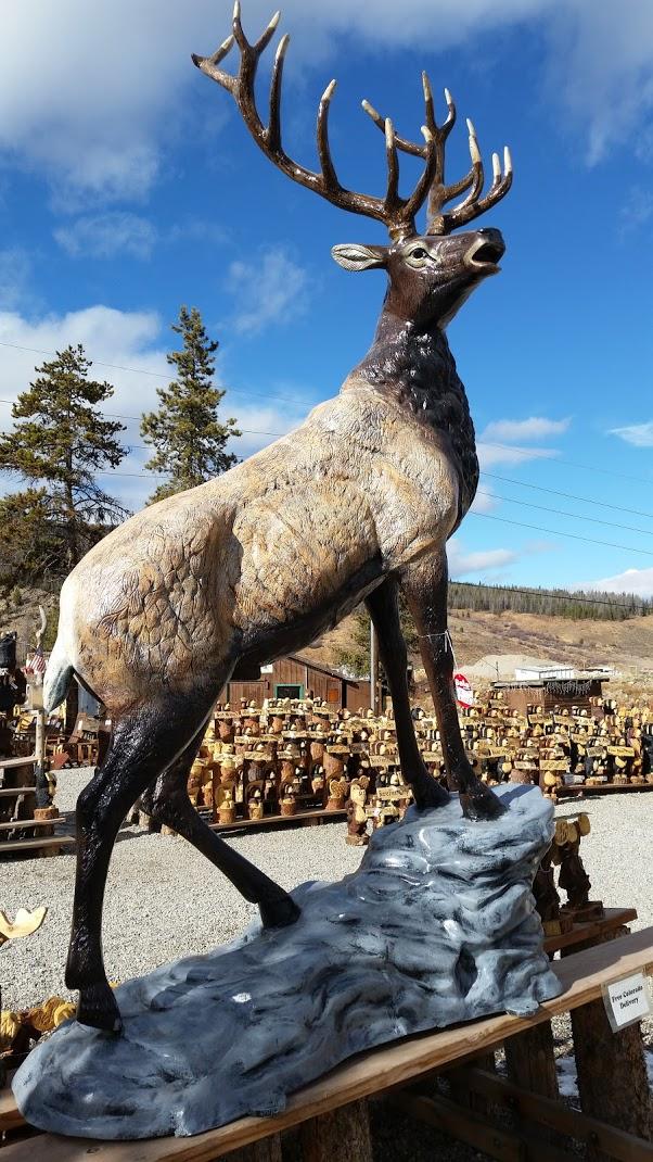 Elk On Rock Facing Right Cast Aluminum Natural Paint
