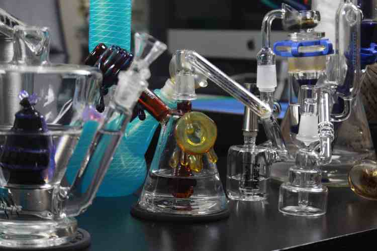 Examples of dab rigs used for inhaling cannabis concentrates like Live Resin