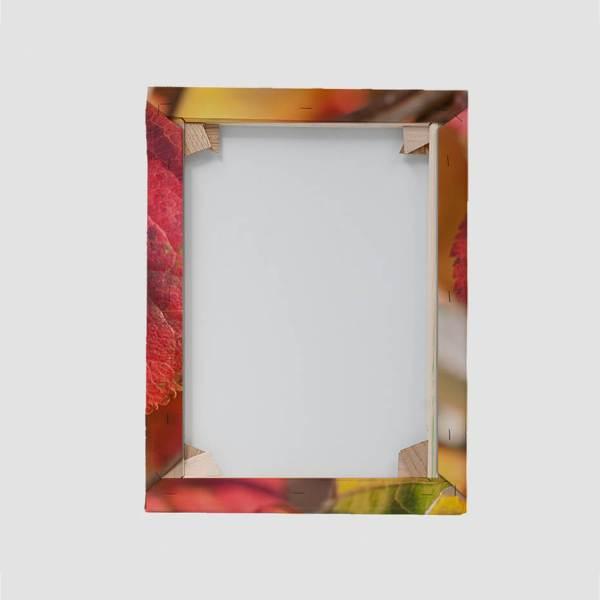 Blindramme og print på lærred bagfra