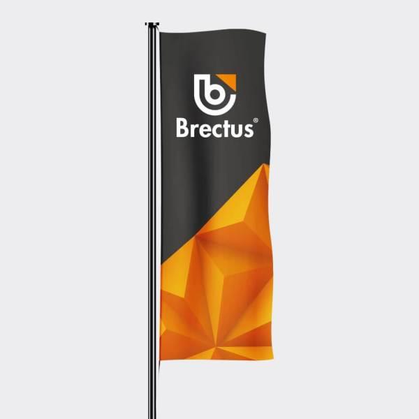 Flagg med logo stående