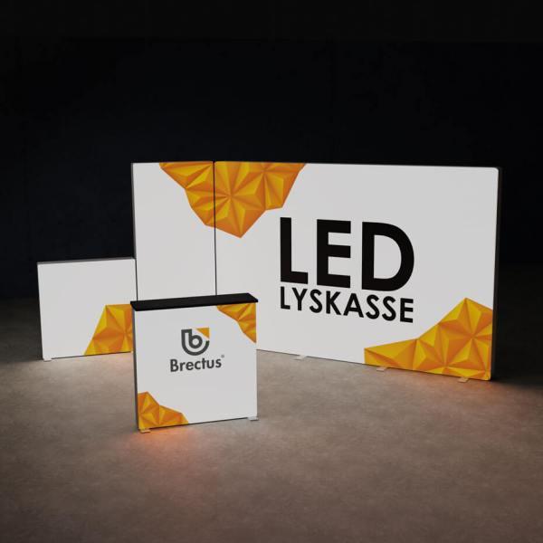messevegg, messebord, messestands med led, byggesett, modulstand med lys, LED lyskasse, lysbokser