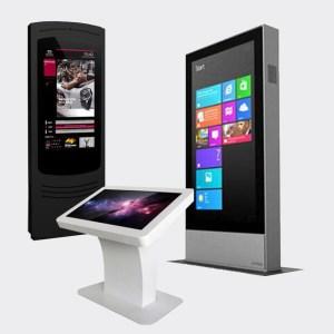 Interaktive infokiosker, infosøyle, Utendørs digital skilting, Reklame løsning, skjerm i vindu