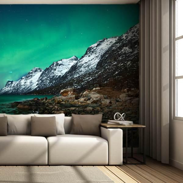 Fototapet til Stue - Utsikt over Fjell med Nordlys
