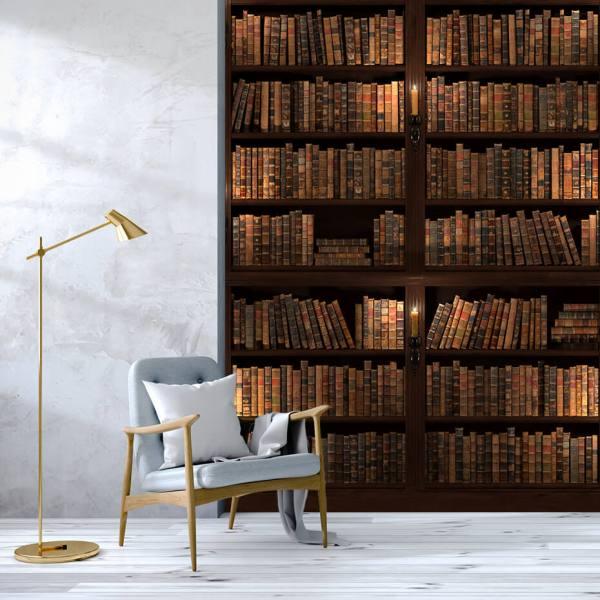 Fototapet til Allrom - Motiv Bøker på en stor Bokhylle