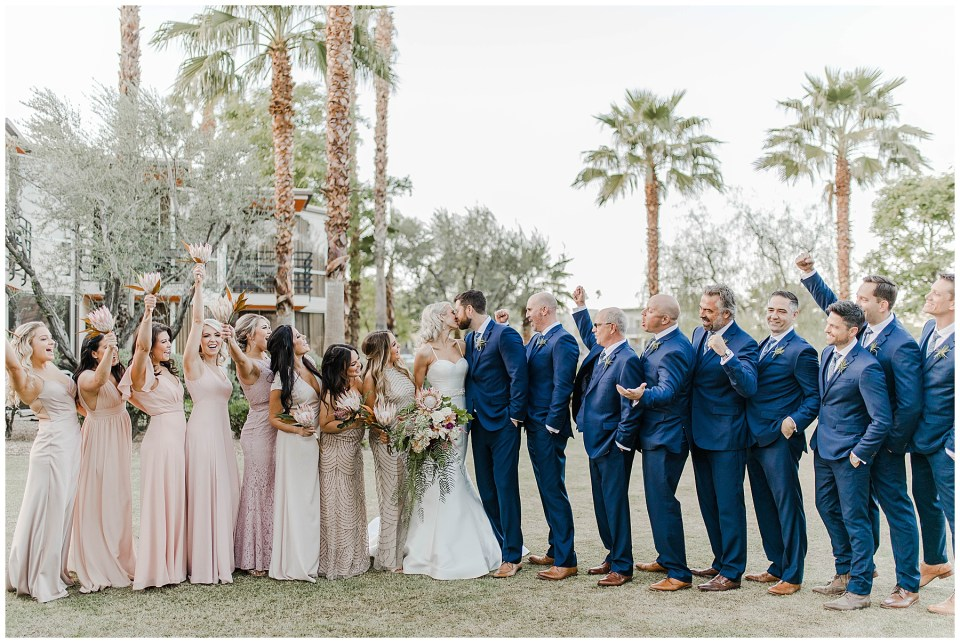 bride and groom in palm springs, california