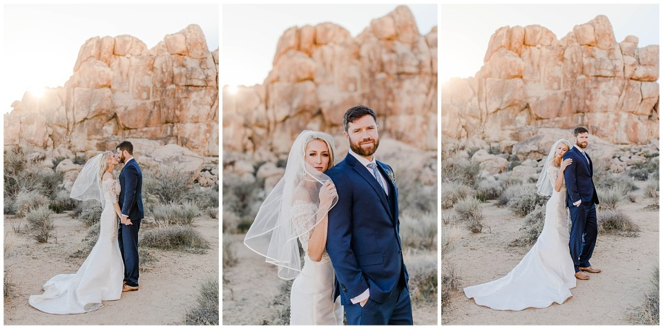 bride and groom in joshua tree national park