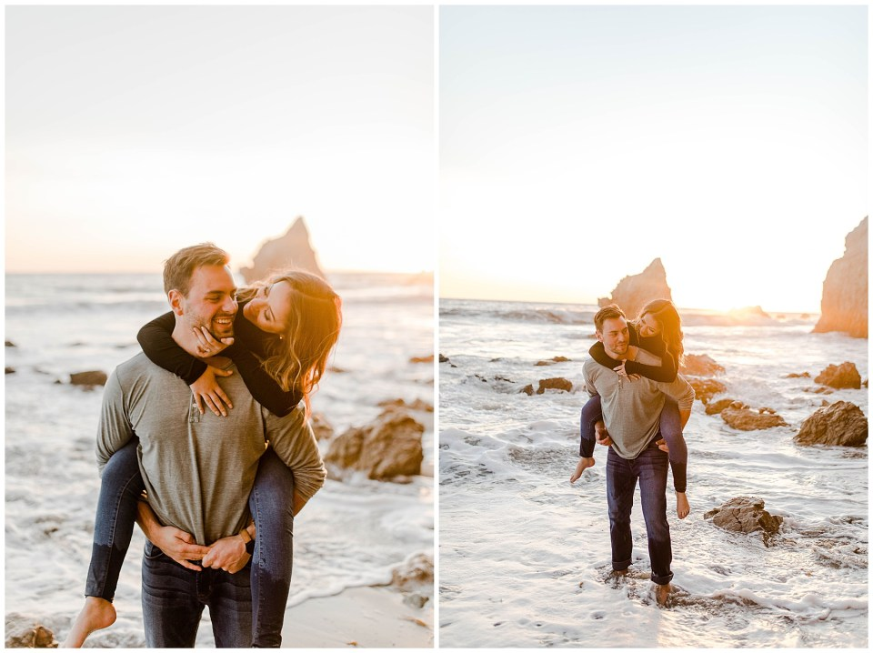 couple doing a piggy back ride on the beach