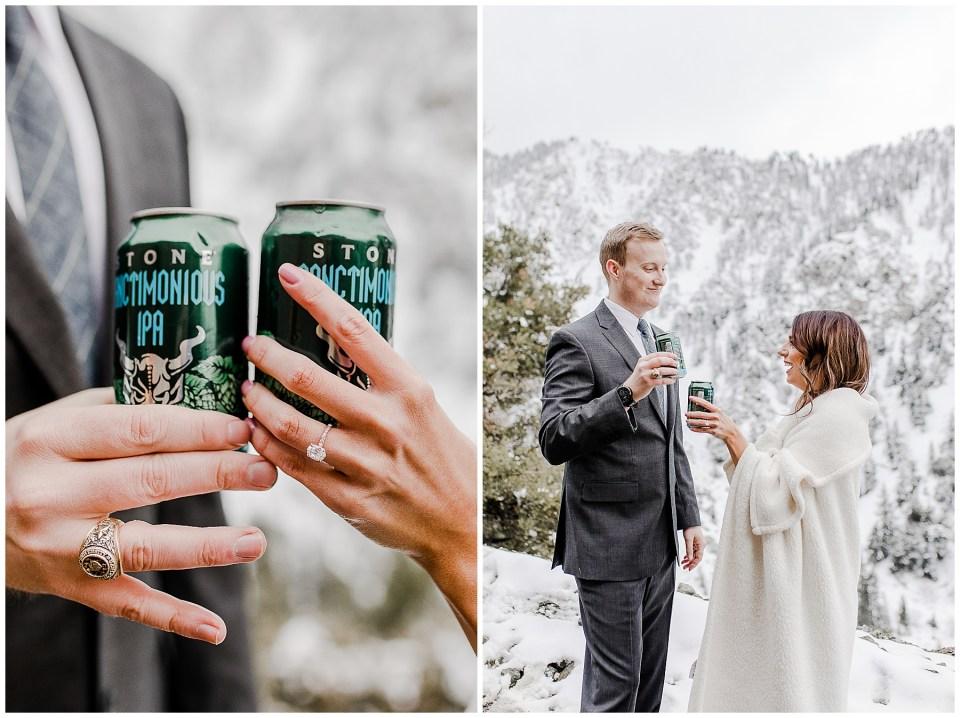 couple enjoys a stone IPA before taking their engagement photos