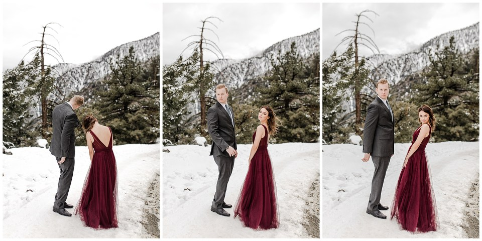 snowy engagement photography session in los angeles
