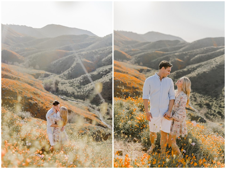 Romantic photos of a couple near the poppy fields in Walker Canyon