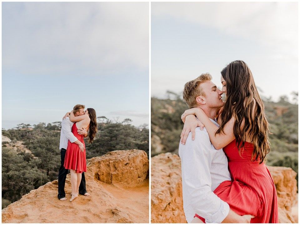 Couple taking photos on the cliffs in San Diego. Torrey Pines Engagement Photography Session