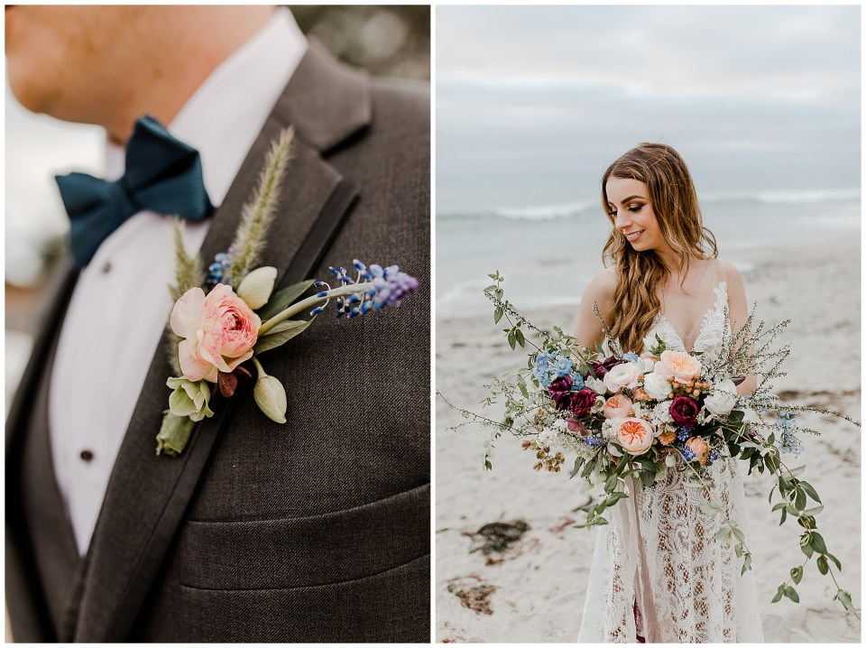 elopement flowers on a bride and groom - fox and flora designs is amazing!