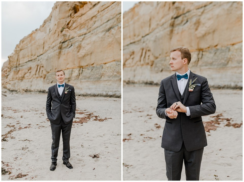 groom taking wedding portraits on torrey pines state beach