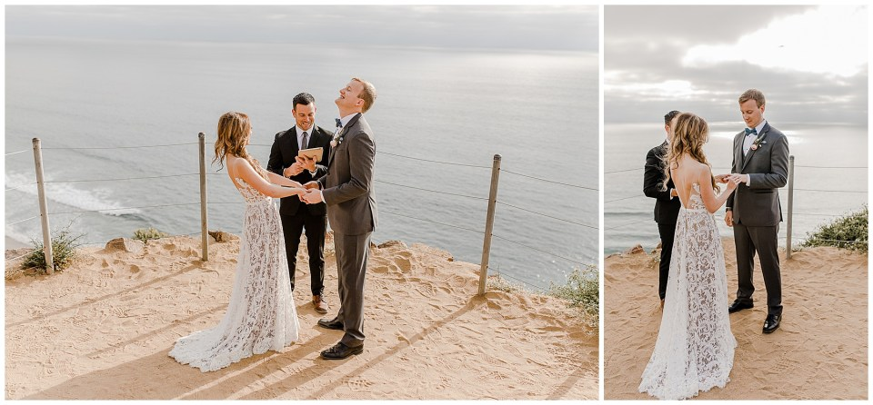 bride and groom exchanging rings at torrey pines state reserve