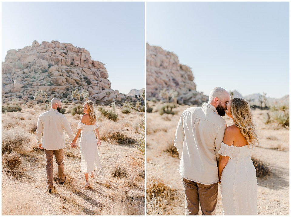 Couple taking engagement photos in joshua tree national park