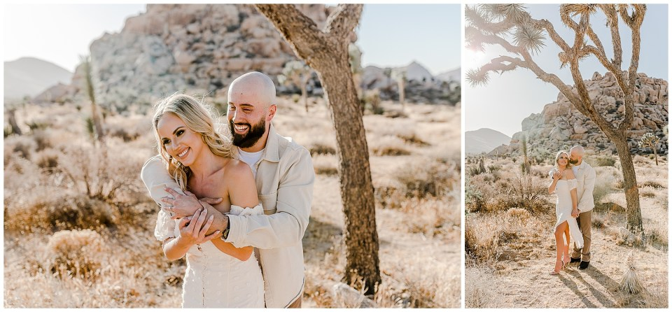man with a beard kisses woman on neck during engagement photos in joshua tree