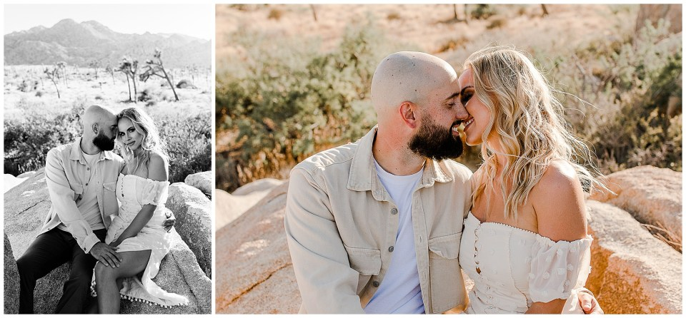2 pictures of a man and a woman sitting on a rock in joshua tree