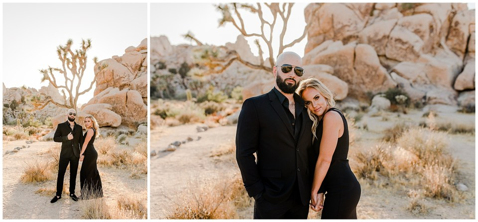 man and woman wearing all black in joshua tree national park for their engagement photos