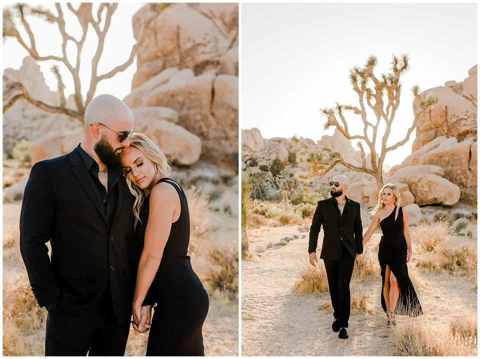 man and woman walking in joshua tree national park during their engagement photos