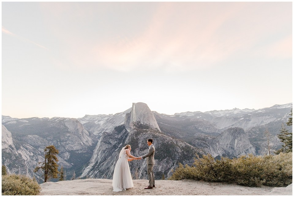 sunrise first look bride and goom in glacier point
