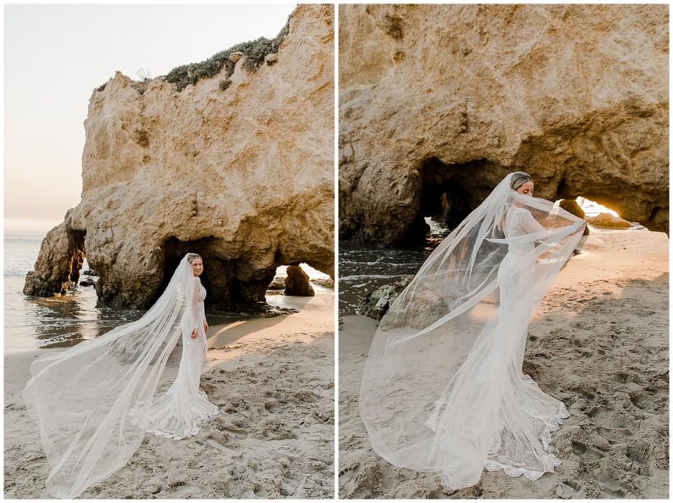 bride at el matador beach
