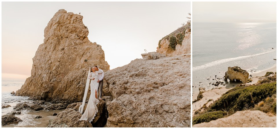 man and woman on a rock during their el matador beach elopement