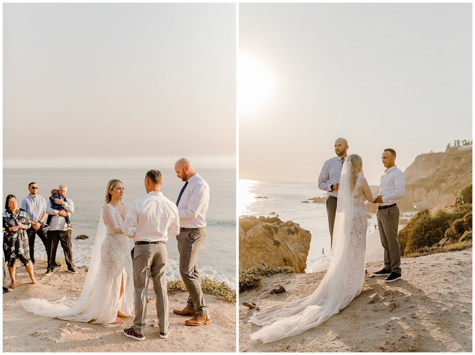 elopement ceremony at el matador beach